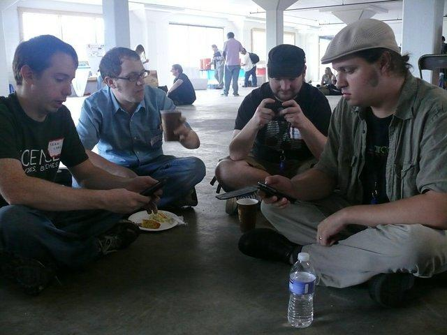 Barcampers lunching