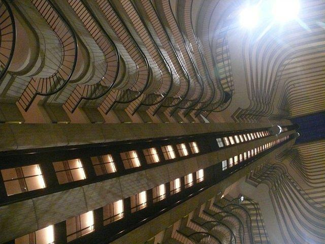 Looking up at the Marriott